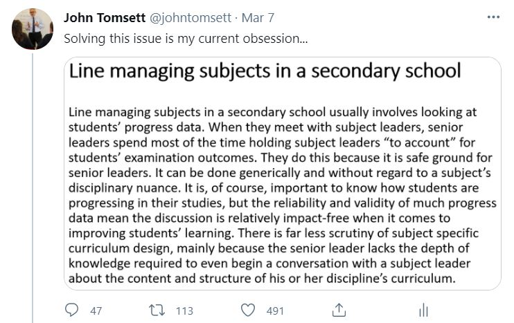 This much I know about…educating senior school leaders about the curriculum so that they can support subject leaders with curriculum development – John Tomsett